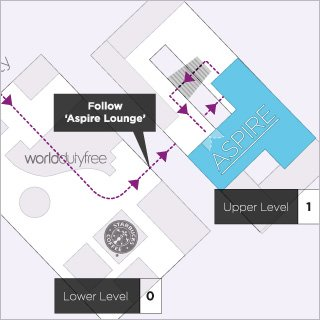 Map to the Aspire Lounge in Bristol Airport