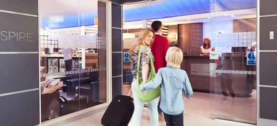 Family Arriving at the Bristol Airport Aspire Lounge