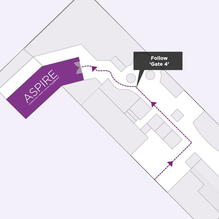 Map to the Aspire Airport Lounge in Edinburgh Airport