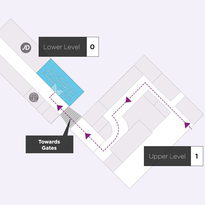 Map to the Aspire Airport Lounge in Liverpool John Lennon Airport