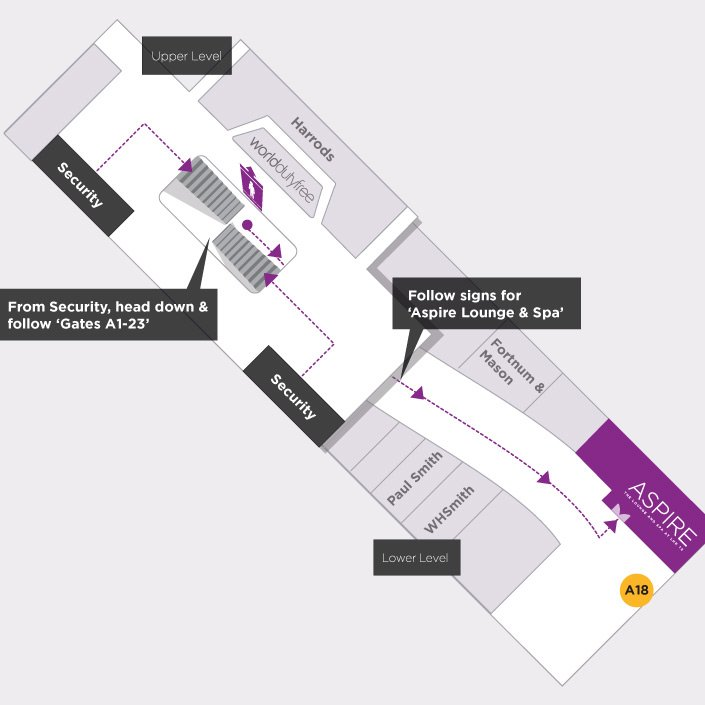 Map to the Aspire Airport Lounge in London Heathrow Airport Terminal 5