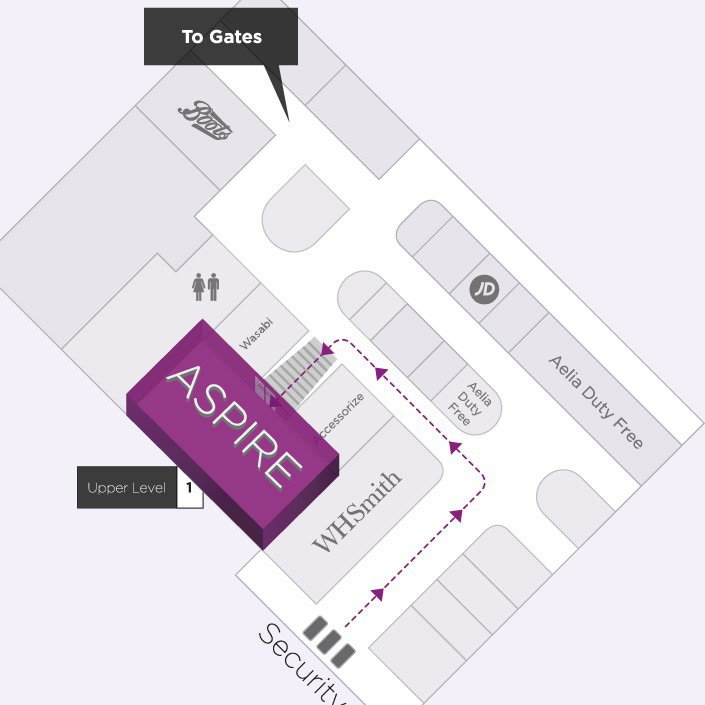 Map to the Aspire Airport Lounge in London Luton Airport