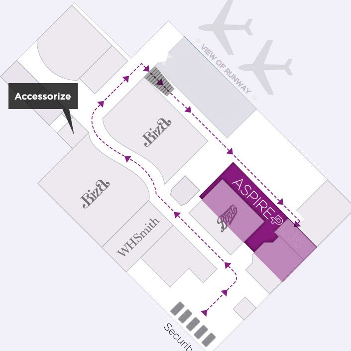 Map to the AspirePlus Airport Lounge in Newcastle Airport