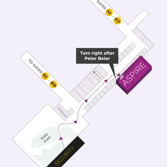 Map to the Aspire Airport Lounge in Copenhagen Airport