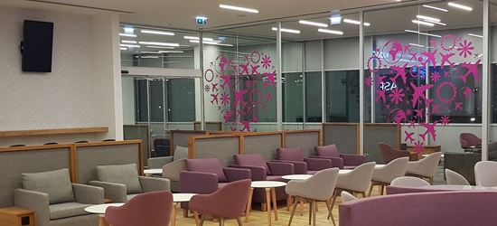 Seating area of the Aspire Aphrodite Lounge at Larnaca Airport