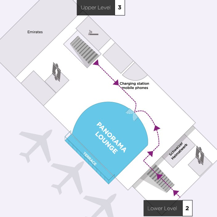 Map to the Aspire Airport Lounge in Zurich International Airport