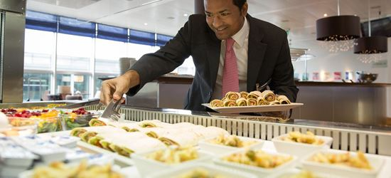 Complimentary food at the Aspire Airport Lounge in Zurich International Airport