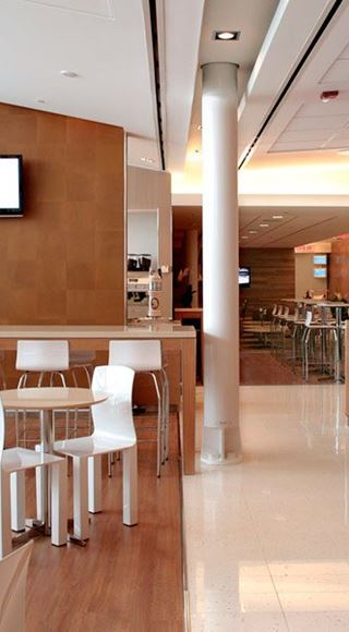 Seating area of the Swissport Airport Lounge at Montreal Airport