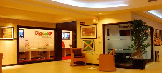 The reception of the Club Kingston Airport Lounge in Norman Manley International Airport