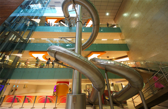 Spiral slides in Singapore shopping mall