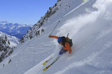 Person skiing down hill