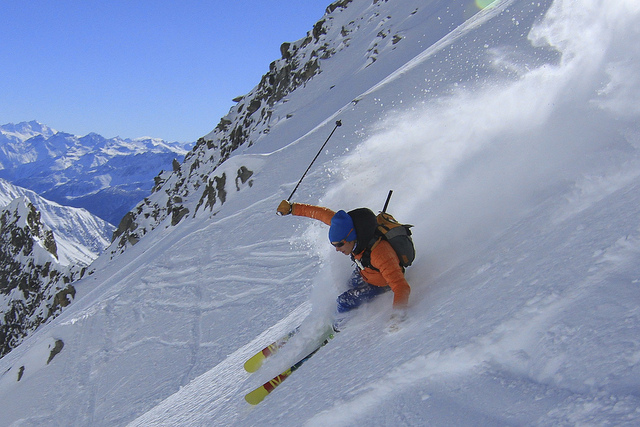 Person Skiing in Chamonix Mont-Blanc, France
