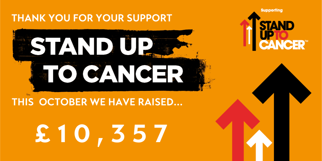 Thank you for your support. This October, we have raised £10,357 for Stand Up to Cancer.