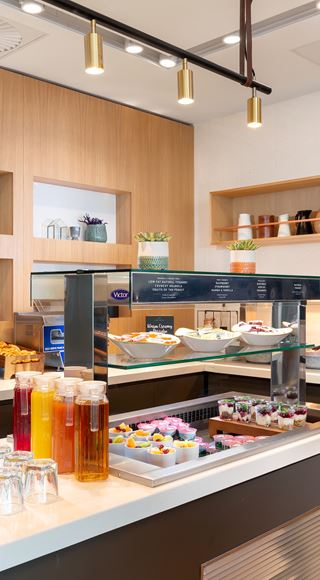 Breakfast bar in the new Club Aspire Lounge Gatwick Airport South Terminal