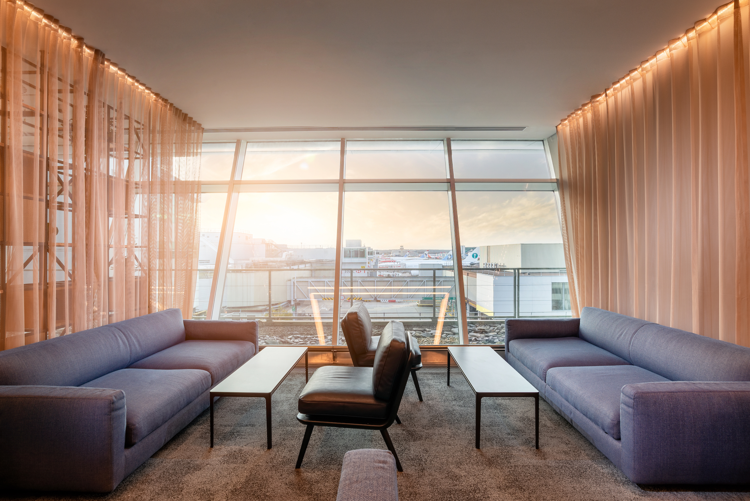 Comfortable seats in the new Club Aspire Lounge Gatwick Airport South Terminal