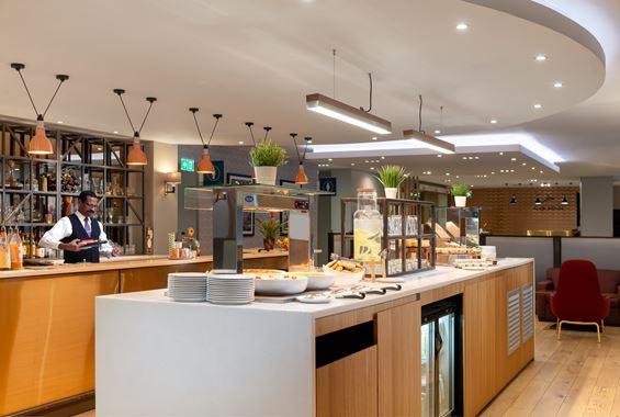 Food area at Club Aspire Lounge Gatwick North Terminal