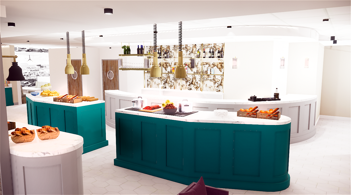 Digital Render of Food Area at Aspire Lounge London Luton Airport